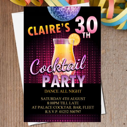 10 Personalised Cocktail Birthday Party Invitations N203